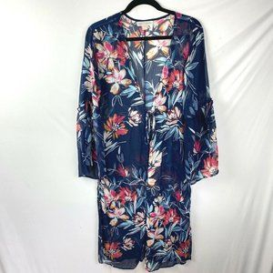 BAND OF GYPSIES Blue Floral Long Duster Kimono S